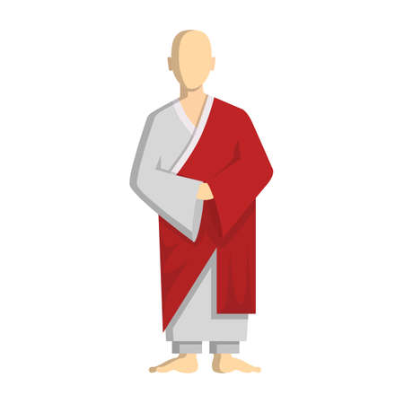 Isolated buddhist monk standing on white background. Concept of peace, calm and east religion. Illustration
