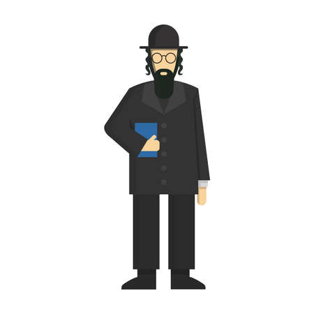 mishnah: Isolated jewish rabbi standing on white background. Concept of Israel, synagogue and judaic religion.