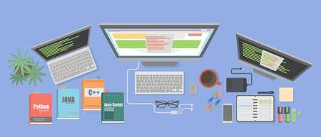 debug: Programmer desk mockup. Desk with coding books, computers and usb. Illustration