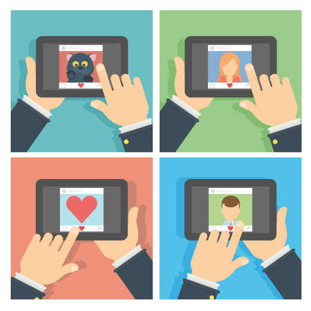 liking: Social networking set. Hands holding tablet with like button and liking photos. Illustration