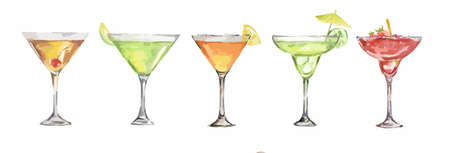 collins: watercolor cocktails set. Isolated glasses with alcohol drinks on white background. Illustration