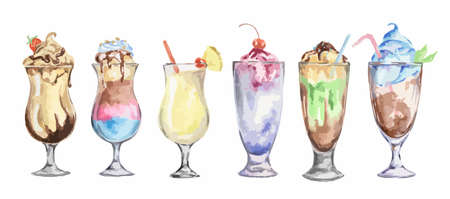 collins: watercolor cocktails set. Isolated glasses with milkshakes drinks on white background.