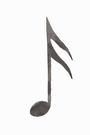 Watercolor sixteenth note on white background. Music note. Illustration