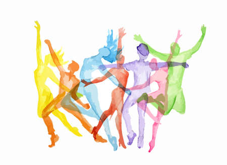 an entertainer: Watercolor dance set on white background. Dance poses. Healthy lifestyle, getting energy.