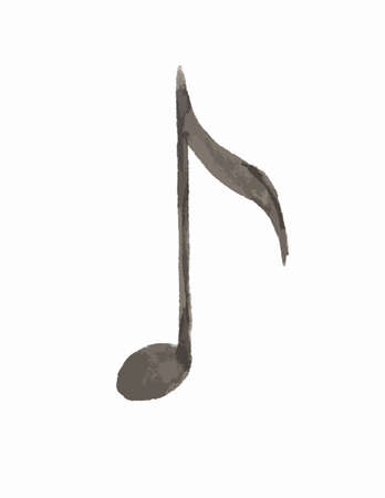 Watercolor isolated eighth note on white background. Music note.