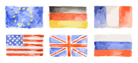 Watercolor flags set on white background. EC and UK, France and USA, Russia and Germany.
