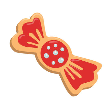 Christmas cookies girl. Isolated ginger cookie with decoration on white background. Sweet and delicious holiday gift.