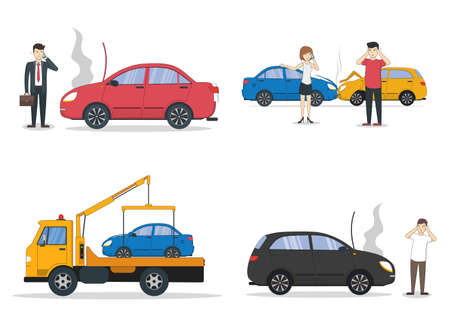Car crash set. Different situations on the road. Traffic collisions. Tow truck. Illustration