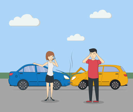 Head on collision. Car accident. Man and woman feeling shocked.