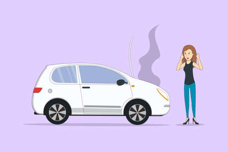 overheat: Car with motor defect. Woman standing near broken car. Illustration