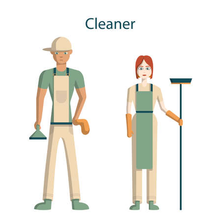 carpet cleaning service design: Isolated profesional cleaner staff. Female and male cleaner in uniform with equipment standing on white background.