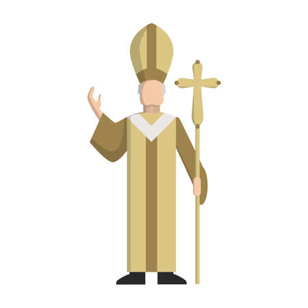 pope: Isolated catholic pope standing on the white background. Concept of christianity, vatican and italy.