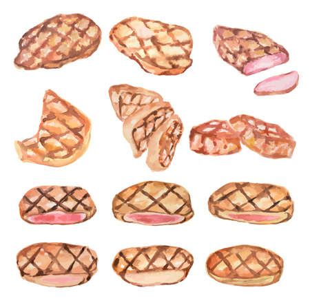 griller: Watercolor steak set. Juicy and delicious griller meat. Meals for restaurant.
