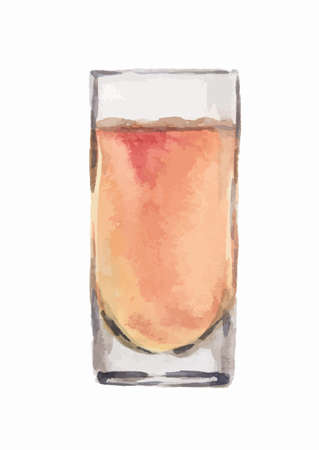 nonalcoholic: Watercolor alcohol glass with orange liquid on white background. Alcohol beverage. Drink for restaurant or pub. Juice or another nonalcoholic drink. Illustration