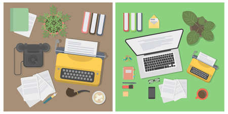 Writer desk mockup set. Desk with typewriter, laptop, notes and plant. Workplace of writer or journalist. Ilustrace