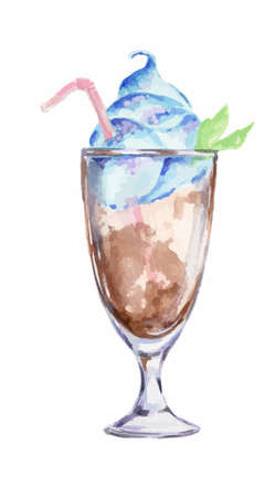 collins: Isolated watercolor cocktail. Isolated glass with alcohol drink on white background. Milkshake.