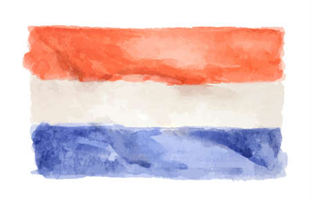 Watercolor isolated flag of Netherlands on white background.