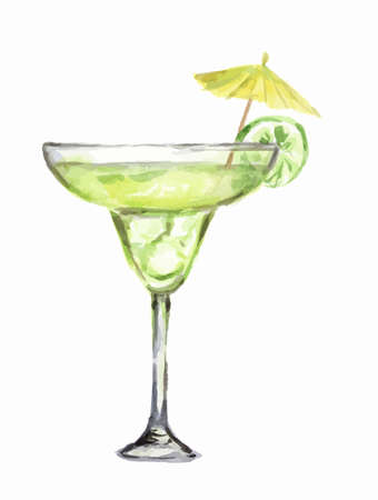 collins: Isolated watercolor cocktail. Isolated glass with alcohol drink on white background. Umbrella and lime.