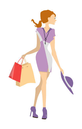 shoppers: Isolated shopping woman on white background. Elegant, young and slim woman in beautiful outfit with colorful shopping bags.
