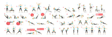 Workout girl set. Woman doing fitness and yoga exercises. Lunges and squats, plank and abc. Full body workout.