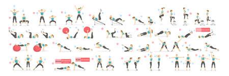 Workout meisje set. Vrouw doet fitness en yoga-oefeningen. Lunges en squats, plank en abc. Full body workout. Stock Illustratie