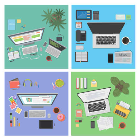 interiors: Desk top view set. Different tables and interiors. Illustration