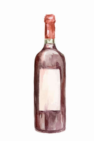 Watercolor alcohol bottle on white background. Alcohol beverage. Drink for restaurant or pub.
