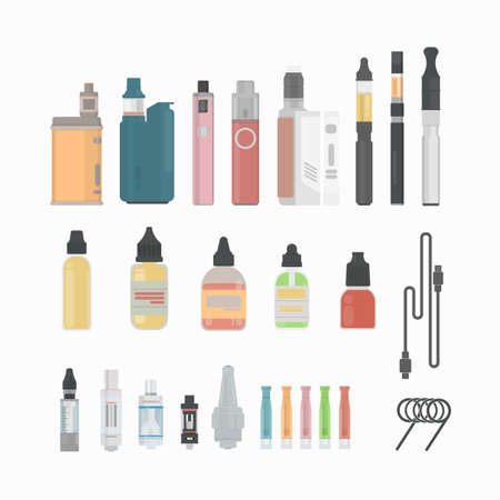 e cig: Vaping cigarette set. Vaping devices and liquids. Alternative smoking. New trend.