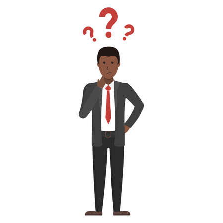 Businessman with question marks standing on white background. Handsome african american confused businessman.