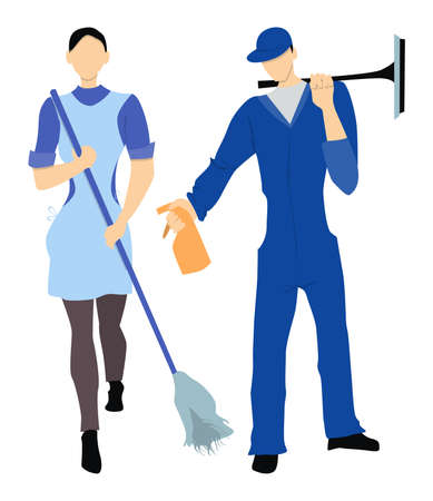 Isolated profesional cleaner staff. Female and male cleaner in uniform with equipment standing on white background.