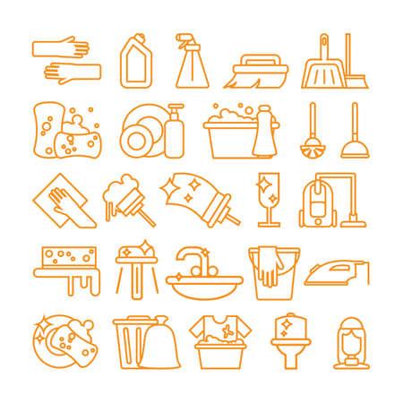 Set di icone di pulizia. Segni e simboli isolati di pulizia, lavori domestici, lavaggio e attrezzatura su fondo bianco.