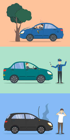alcohol series: Car crash set. Different situations on the road. Traffic collisions. Car accidents.