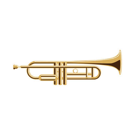 Isolated trumpet on white background. Musical instrument. Element of orchestra.