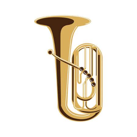 tuba: Isolated tuba on white background. Musical instrument. Element of orchestra.