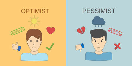 Optimist and pessimist. Two points of view. Happiness and sadness.