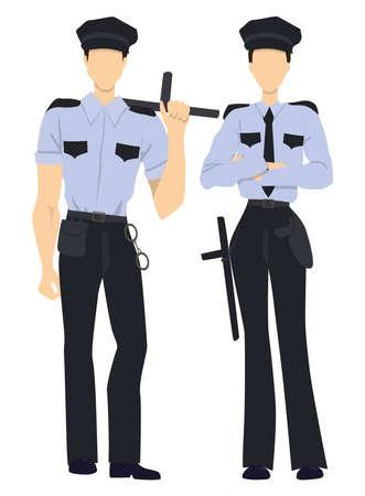 femme policier: Agents de police professionnels isolés. hommes et femmes policiers en uniforme debout sur fond blanc. Illustration