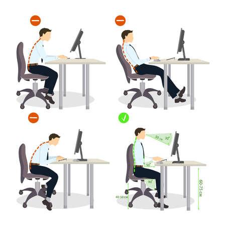 Sitzhaltung gesetzt. Richtig und falsch Positionen. Gesunder Lebensstil. Standard-Bild - 66472686