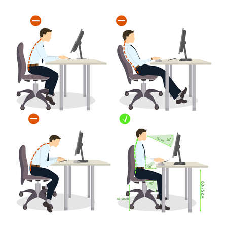 Sitting posture set. Right and wrong positions. Healthy lifestyle.