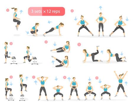 Trening dziewczyny set. Kobieta robi ćwiczenia fitness i jogi. Rzuca i przysiady. Noga treningu. Ilustracje wektorowe