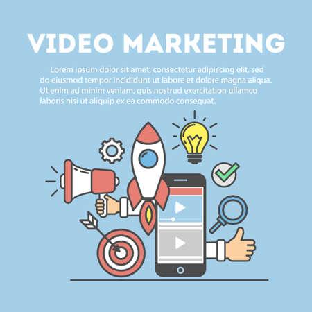 ビデオ マーケティングの概念。デジタル デザイン。社会的なネットワークとメディア コミュニケーション。