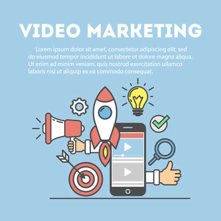 Video marketing concept. Digital design. Social network and media communication. Illustration