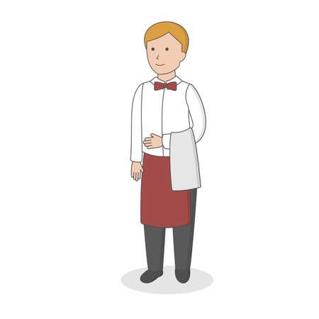 Isolated professional waiter. Male waiter in uniform.