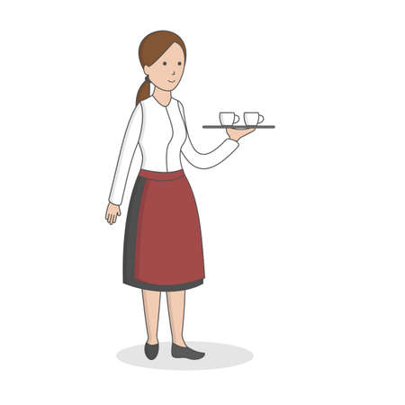 Isolated professional waiter. Female waiter in uniform with dish. 矢量图像