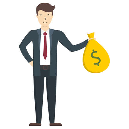 wealthy lifestyle: Businessman with moneybag standing on white background. Happy office worker in suit. Concept of wealth and success.