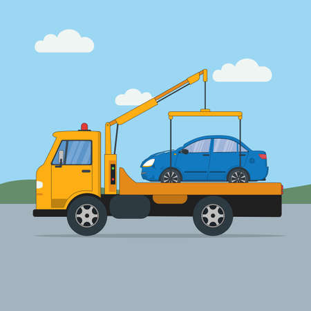 Tow truck with car. Rad help. Towing service. Transportation and repair help. Illustration