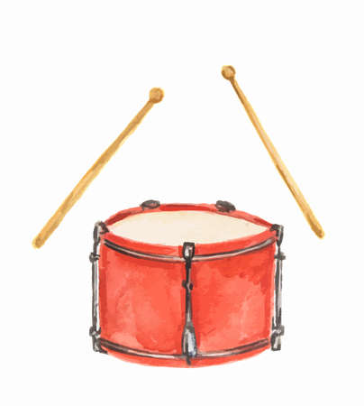 bass drum: Isolated watercolor drums on white background. Classical instrument. Illustration