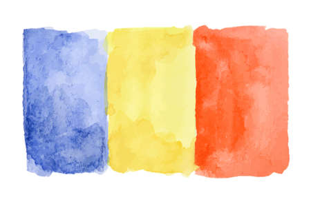 Watercolor isolated flag of Rumania on white background.