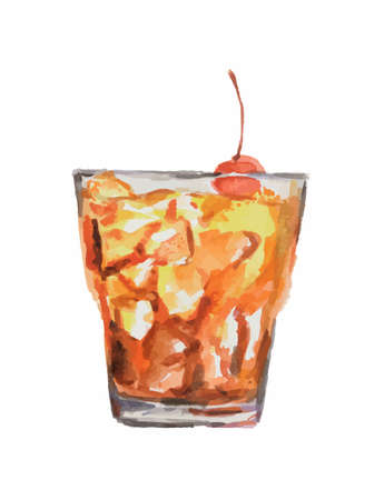 collins: Isolated watercolor cocktail. Isolated glass with alcohol drink on white background. Cherry.