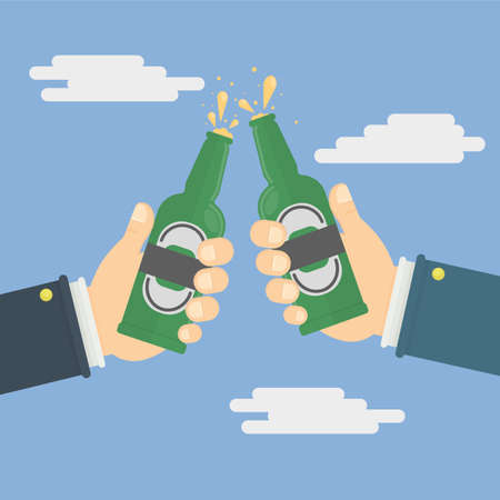 hands holding the beer bottles. vector illustration in flat style Illustration