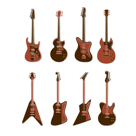 Electric guitars set on white background.